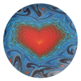Prato Placa ondulada da melamina do coração