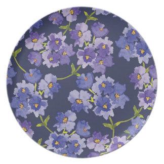 Prato Placa pintada floral do teste padrão do roxo & dos