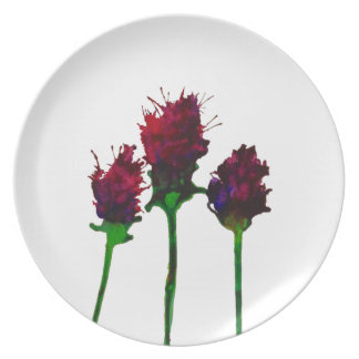 Prato Placa roxa bonita do design da flor