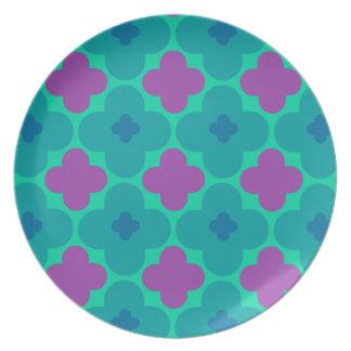 Prato Placa roxa e azul colorida do teste padrão do