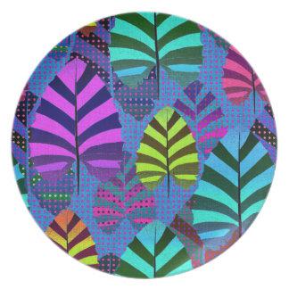Prato Placa tropical da melamina das folhas