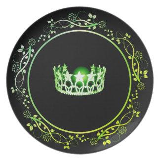 Prato Placa verde da coroa da senhorita EUA com beira