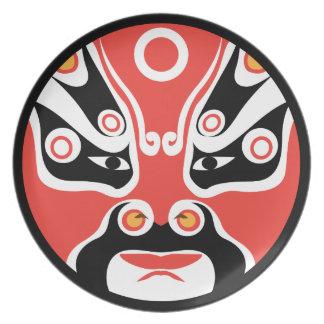 Prato Placa vermelha da melamina da máscara de Jitaku