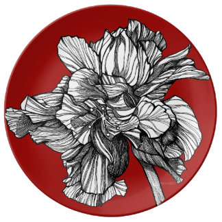 Prato Placa vermelha da porcelana de China do hibiscus