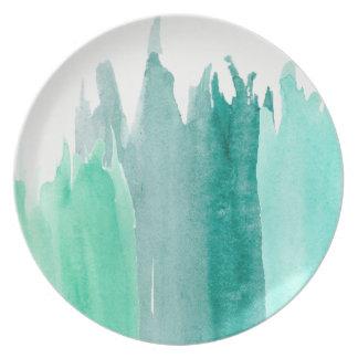 Prato Placas azuis da aguarela