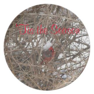 Prato Placas de comensal cardinais vermelhas da melamina