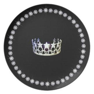 Prato Placas de prata do plástico da coroa da senhorita