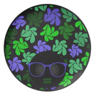 Prato Placas verdes & azuis da diva do Afro