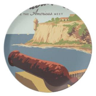 Prato Poster Puerto Rico das viagens vintage