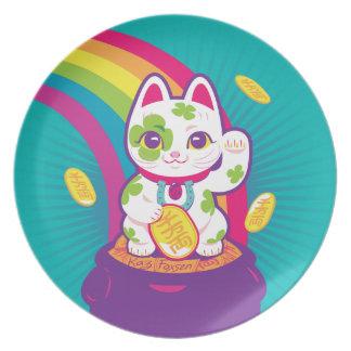 Prato Pote de boa sorte de Maneki Neko do gato de ouro