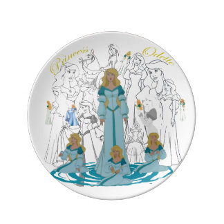 "Prato Princesa ODETTE Porcelana Esboço Placa (8,5"")"