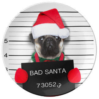 Prato Pug do Natal - cão do mugshot - pug do papai noel