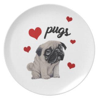 Prato Pugs do amor