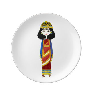 "Prato Rainha Assyrian 8,5"" placa decorativa da porcelana"
