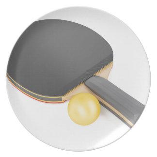 Prato Raquete e bola de ténis de mesa