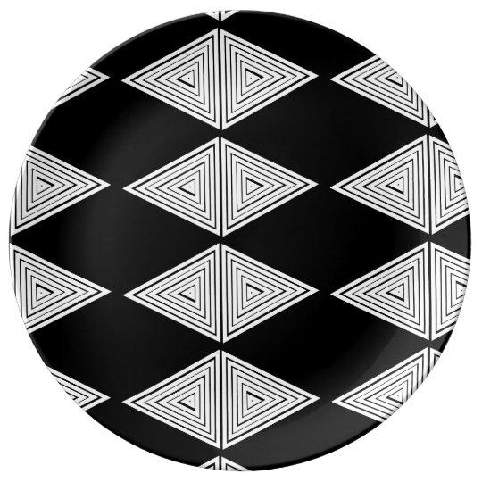 Prato  Redondo de Porcelana( Triângulos)