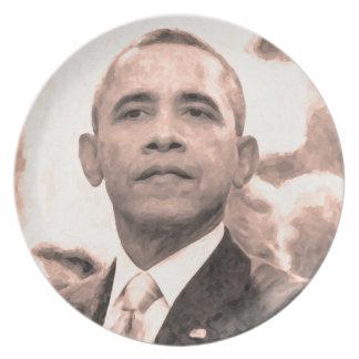 Prato Retrato abstrato do presidente Barack Obama 30x30