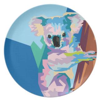 Prato Retrato colorido do Koala do pop art