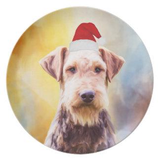 Prato Retrato da arte do chapéu do papai noel do Natal