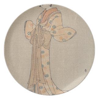 Prato Retrato do ator Nakamura Yasio como um Oiran
