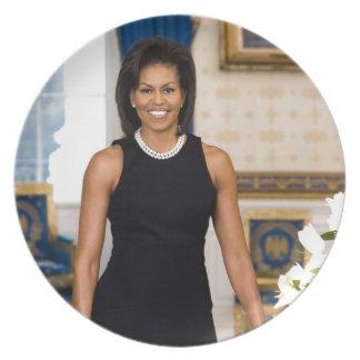 Prato Retrato oficial da primeira senhora Michelle Obama