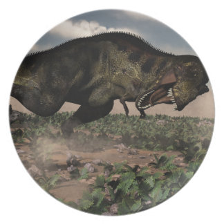 Prato Rex do tiranossauro que ruje em um triceratops