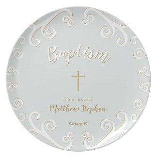 Prato Rolos do baptismo no azul e no ouro de pó