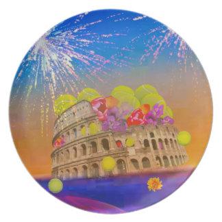 Prato Roma comemora a estação com bolas de tênis, flores