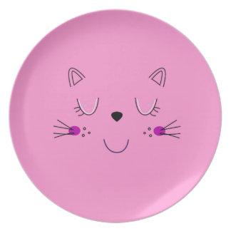 Prato Rosa bonito dos gatinhos