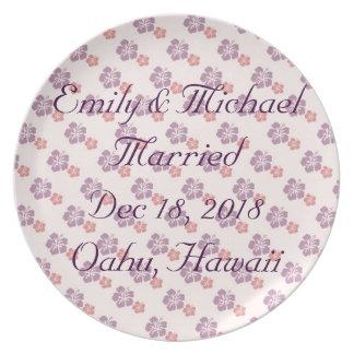 Prato Rosa e roxo havaianos da flor