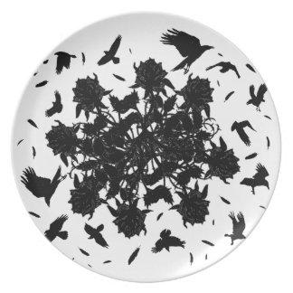 Prato Rosas e corvos pretos