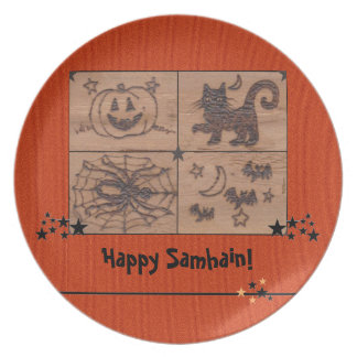 Prato Samhain Prim remenda Woodburned retro