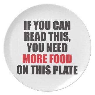 Prato Se você pode ler este, você precisa mais comida