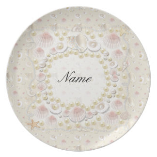 Prato Seashells e pérolas personalizados
