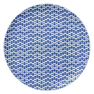 Prato semi mosaico do azul do círculo