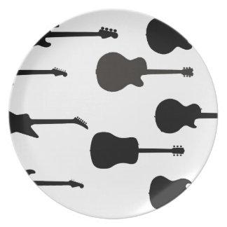 Prato Silhuetas da guitarra da rocha