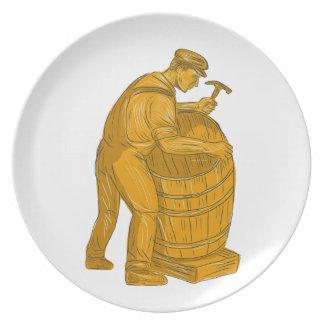 Prato Tanoeiro que faz o desenho de madeira do tambor