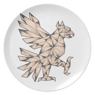 Prato Tatuagem de Cuauhtli Glifo Eagle