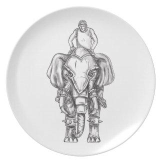 Prato Tatuagem do cavaleiro do Mahout do elefante da