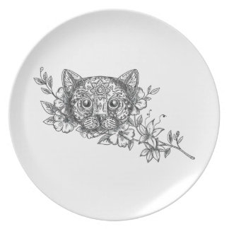 Prato Tatuagem principal da flor do jasmim do gato