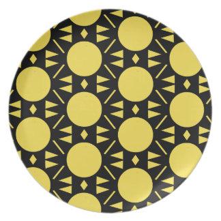 Prato Teste padrão amarelo e preto colorido do estilo do