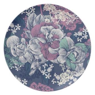 Prato Teste padrão artística do esboço floral roxo azul
