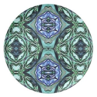Prato Teste padrão artístico do Lilac Funky da cerceta