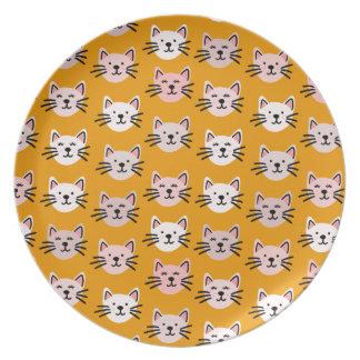 Prato Teste padrão bonito do gato na mostarda amarela