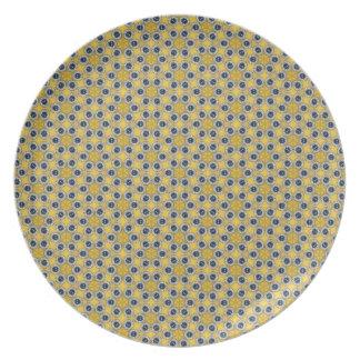 Prato Teste padrão de flor azul amarelo
