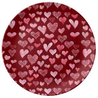 Prato teste padrão dos corações