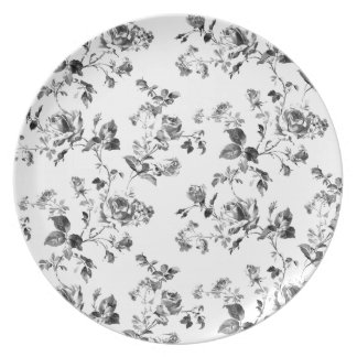 Prato Teste padrão floral dos rosas preto e branco