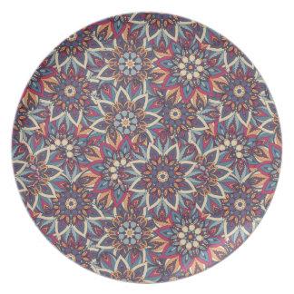 Prato Teste padrão floral étnico abstrato colorido da