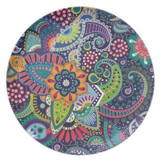 Prato Teste padrão floral multicolorido de néon de
