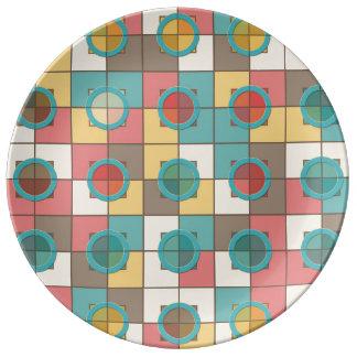 Prato Teste padrão geométrico colorido